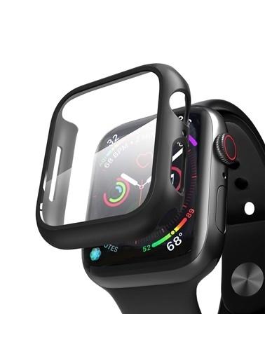 Microsonic Apple Watch Series 3 42mm Kılıf Matte Premium Slim WatchBand Siyah Siyah